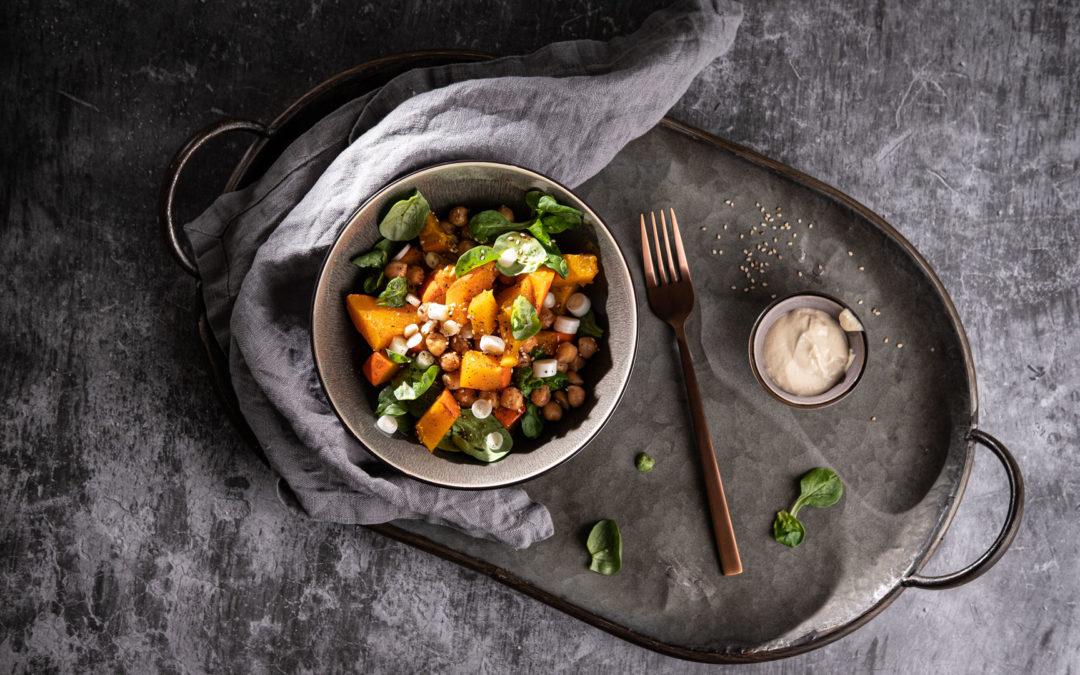 Kürbis-Kichererbsen-Salat