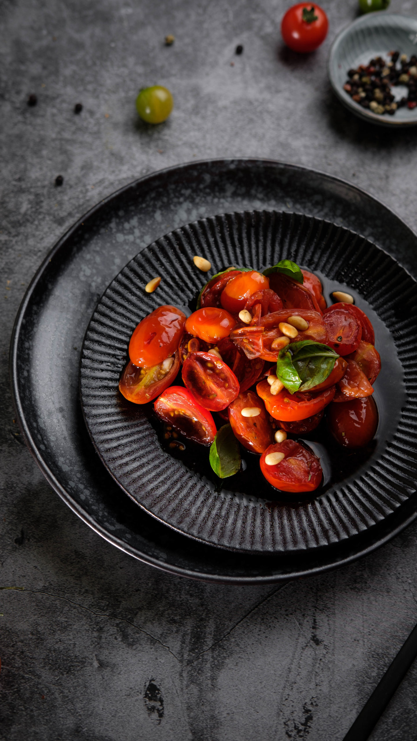 Warmer Tomatensalat, Tomatensalat, vegan, Tomaten, Rezept