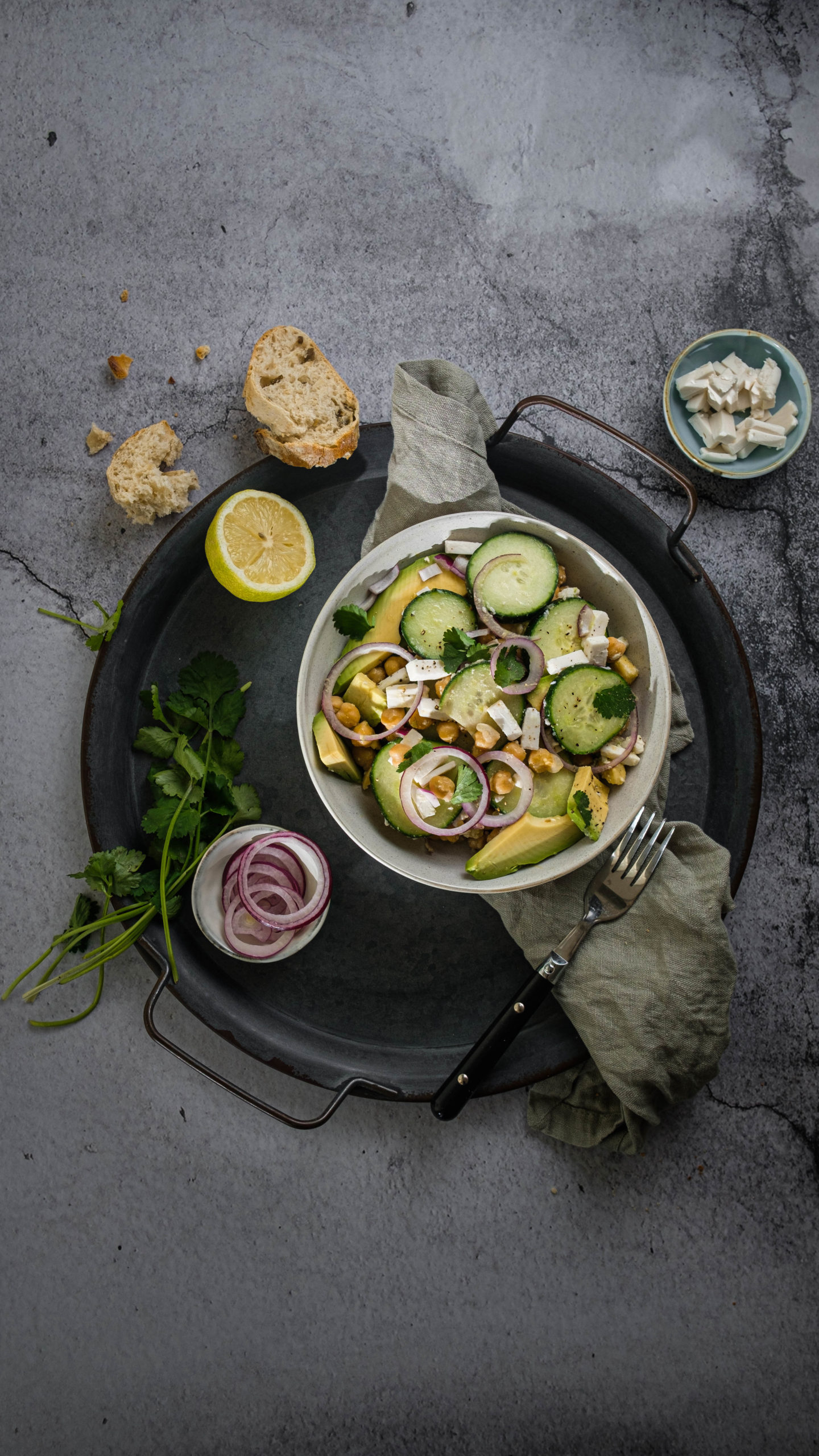 Sommersalat, Salat, vegan, Gurkensalat, Foodstyling